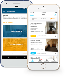 Spareroom app for iOS and Android